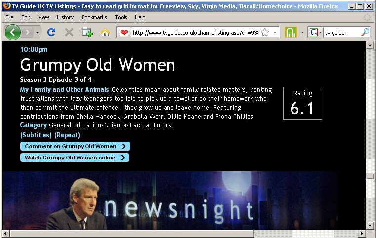 Jeremy Paxman on a TV listing page for Grumpy Old Women