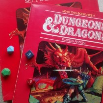 picture of Dungeons and Dragons with various dice